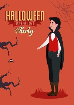 Cartaz da festa de halloween com jovem disfarçado de vampiro