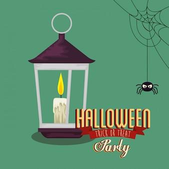 Cartaz da festa de halloween com lanterna e aranha