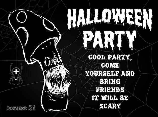 Cartaz da festa de halloween, com monstro assustador, aranhas e teias de aranha.