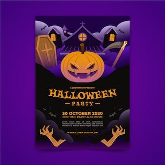 Cartaz da festa de halloween em design plano
