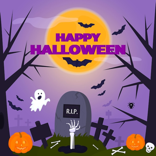 Cartaz da festa de halloween feliz. um fantasma engraçado voa para o cemitério. mão de esqueleto saindo da sepultura