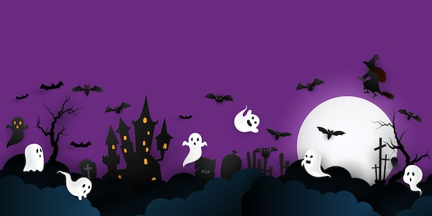 Cartaz da festa de halloween paper art. conjunto de abóboras da coleção projeto de conceito de fundo de carnaval assustador e engraçado