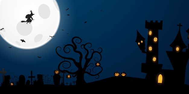 Cartaz da festa de halloween. projeto de conceito de fundo de carnaval Vetor Premium