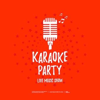 Cartaz da festa de karaokê com ícone de microfone retrô. ilustração vetorial