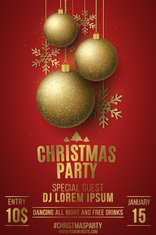 Cartaz da festa de natal. bolas brilhantes douradas. estrelas e flocos de neve mudando. nome do dj. discoteca noturna