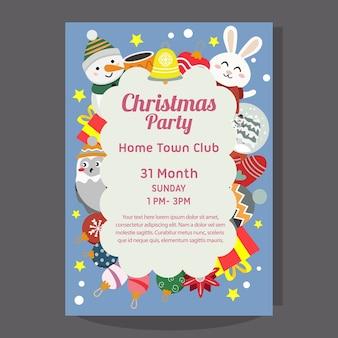 Cartaz da festa de natal com boneco de neve e coelho felizes