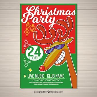 Cartaz da festa de natal com rena desenhada à mão