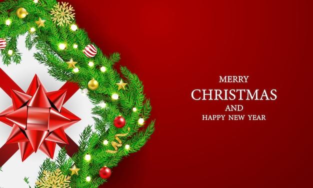 Cartaz da festa de natal e feliz ano novo luz vermelha lam fundo.