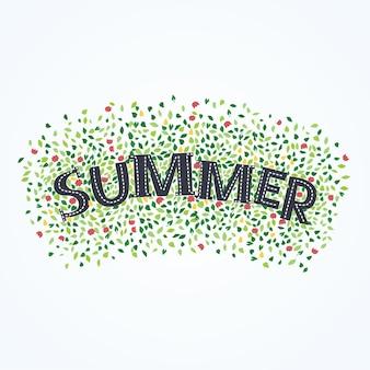 Cartaz da festa de verão com folha de palmeira e letras
