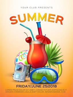 Cartaz da festa de verão copo de coquetel laranja realista em fundo de câmera de snorkel de folhas tropicais