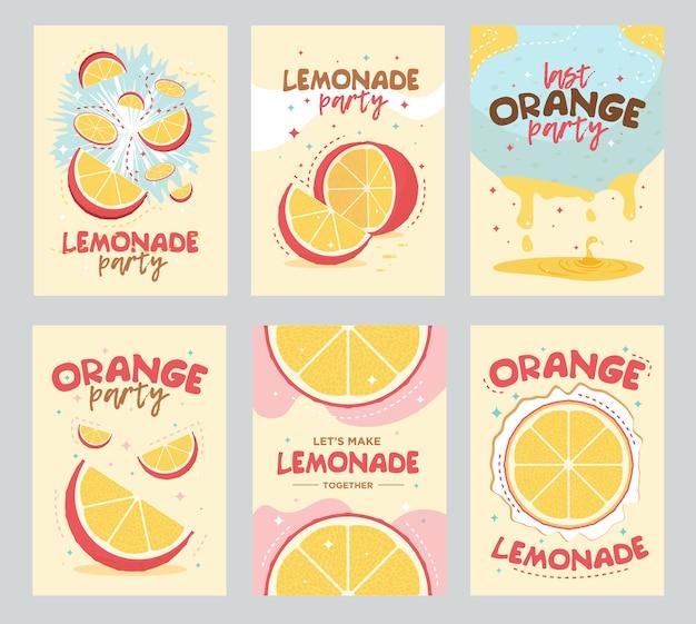 Cartaz da festa limonada e design de cartões. fruta laranja