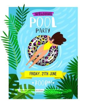 Cartaz da festa na piscina. convite para festa na piscina de férias de verão com mulher em maiô, água e folhas de palmeira na ilustração vetorial de luz do sol
