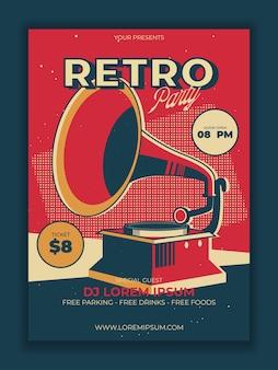 Cartaz da festa retro em vetor com ilustração de gramofone vintage