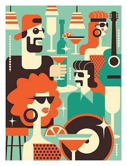 Cartaz da festa retrô. ilustração vetorial em estilo retro.