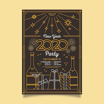 Cartaz da festa vintage com caixas de presente no estilo de estrutura de tópicos