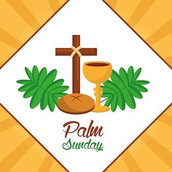 Cartaz da frond do copo do pão da cruz do domingo da palma