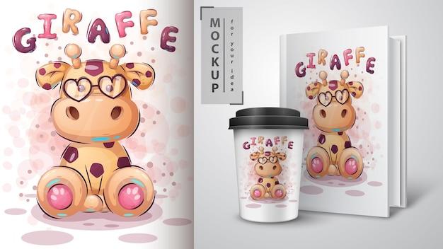 Cartaz da girafa teddy e merchandising