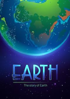 Cartaz da história da terra com a esfera do planeta no espaço sideral com estrelas