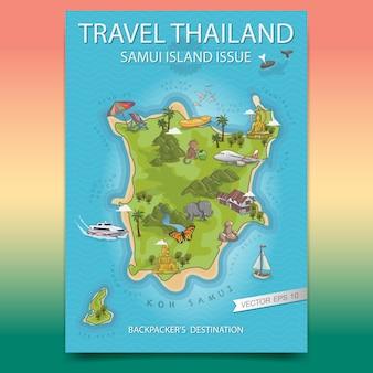Cartaz da ilha de tailândia samui do curso