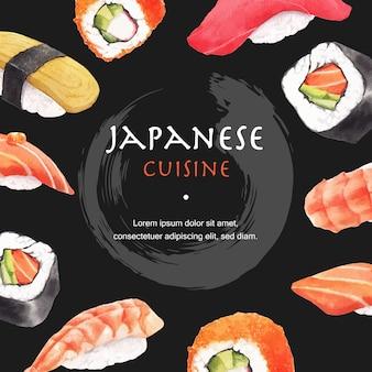 Cartaz da ilustração do restaurante de sushi. de inspiração japonesa em estilo moderno
