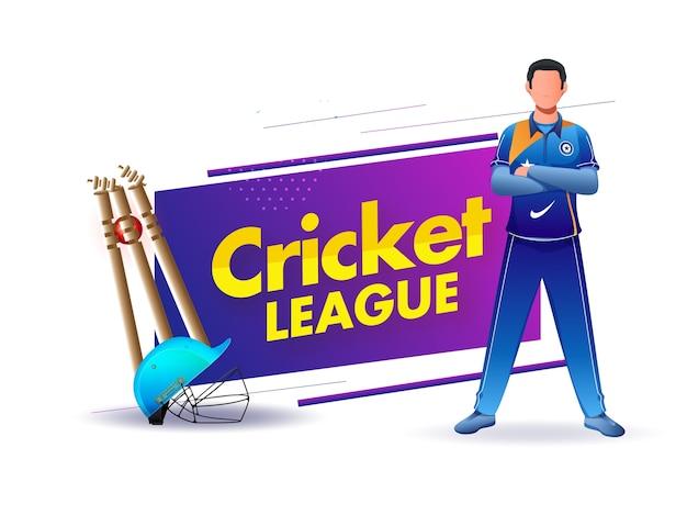 Cartaz da liga de críquete com capacete realista, bola batendo wickets e personagem do jogador em fundo branco.