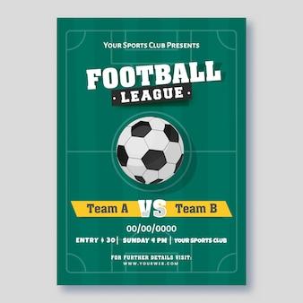 Cartaz da liga de futebol ou design de modelo com bola de futebol realística
