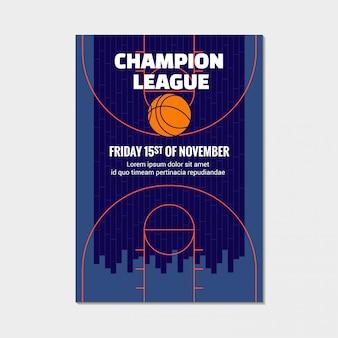 Cartaz da liga do campeão do basquetebol, anúncio