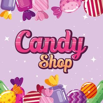 Cartaz da loja de doces com caramelos de armação