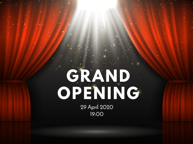 Cartaz da mostra da grande inauguração com as cortinas vermelhas na atuação da fase do teatro.