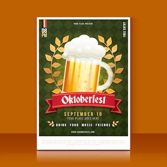 Cartaz da oktoberfest em design plano