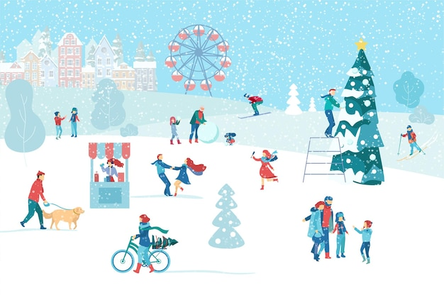 Cartaz da paisagem urbana de inverno com pessoas felizes andando no parque nas férias de natal