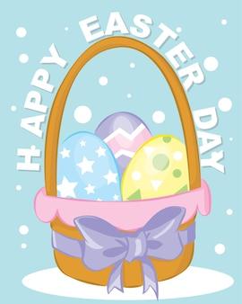 Cartaz da páscoa e modelo de banner com ovos de páscoa. saudações e presentes para o dia de páscoa em estilo plano. modelo de promoção e compras para a páscoa
