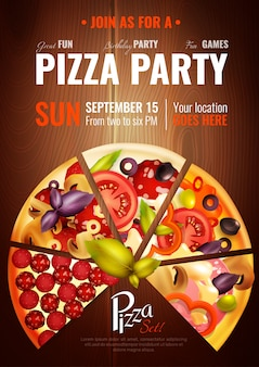 Cartaz da pizza das horas do partido
