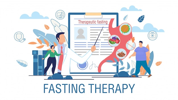 Cartaz da promoção do tratamento da obesidade da terapia de jejum