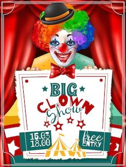 Cartaz da propaganda do convite da mostra do palhaço de circo
