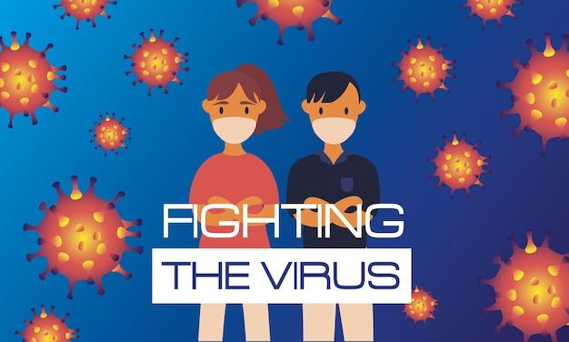 Cartaz da segunda onda do vírus corona com partículas e casal usando máscaras médicas