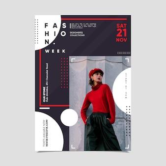 Cartaz da semana de moda com foto de mulher