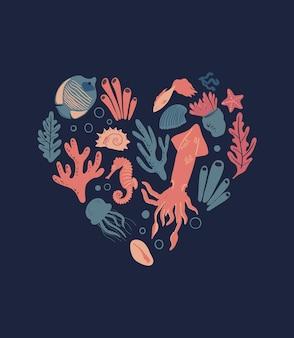 Cartaz da vida marinha em forma de coração com peixes tropicais água-viva lula corais algas e conchas