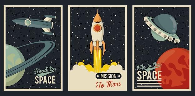 Cartaz da vida no espaço com cenas definidas
