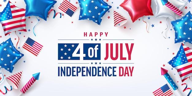 Cartaz de 4 de julho. celebração do dia da independência dos eua com o balão american star. eua 4 de julho promoção modelo de banner de publicidade para brochuras, cartazes ou decorações de festa banner.usa.