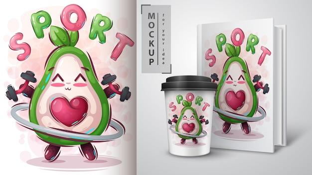 Cartaz de abacate fitness e merchandising
