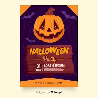 Cartaz de abóbora de festa de halloween plana ou modelo de panfleto