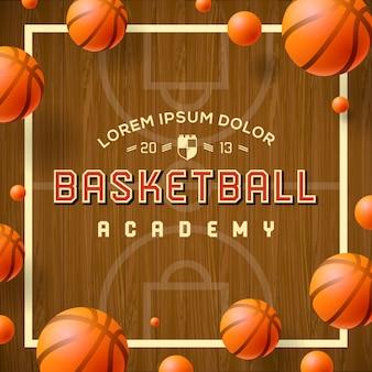 Cartaz de academia de basquete, ilustração