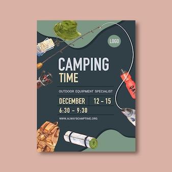 Cartaz de acampamento com chapéu de balde, vara, peixe e mochila