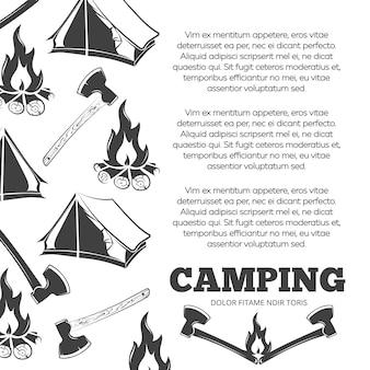 Cartaz de acampamento com fogo