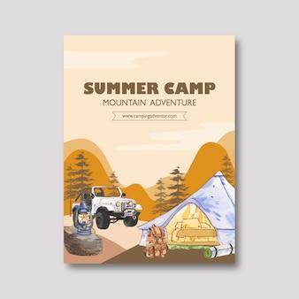 Cartaz de acampamento com ilustrações de lanterna, mochila, tenda e carro