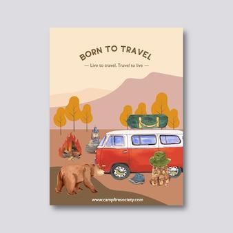 Cartaz de acampamento com ilustrações de urso, fogueira e van