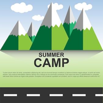 Cartaz de acampamento de verão com texto