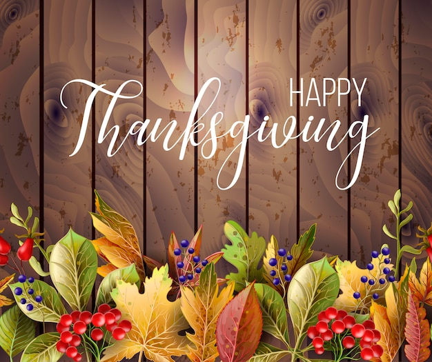 Cartaz de ação de graças feliz com folhas de outono em fundo madeira