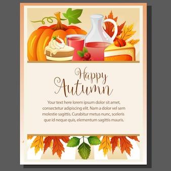 Cartaz de ação de graças feliz outono com xarope e bolo